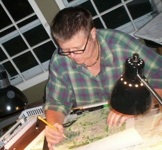 Kara working on a map of Bloomington, Indiana in 2009